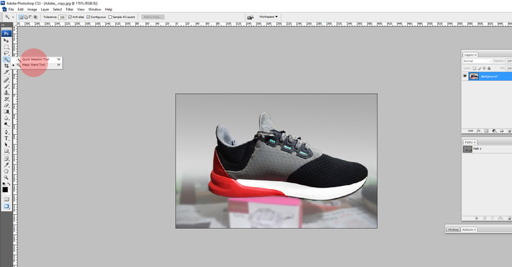 Magic want tool, Photoshop clipping path tutorial.